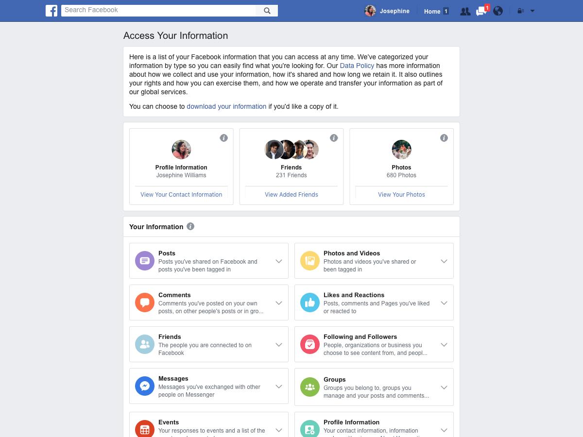 Facebook veri gizliliği